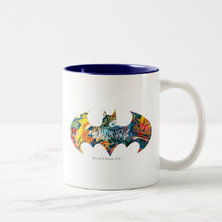Batman Logo Neon/80s Graffiti Two-Tone Coffee Mug