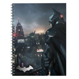Batman Looking Over City Notebooks