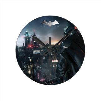 Batman Looking Over City Round Clock