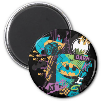 Batman Neon The Dark Knight Collage Magnet