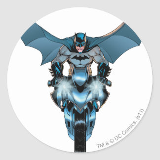 Batman on bike with cape classic round sticker