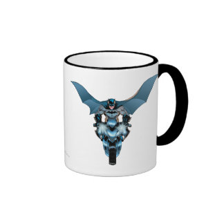Batman on bike with cape ringer mug