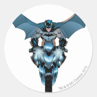 Batman on bike with cape round sticker
