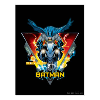 Batman on cycle with logo postcard