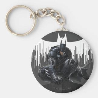 Batman Perched on a Pillar Basic Round Button Key Ring