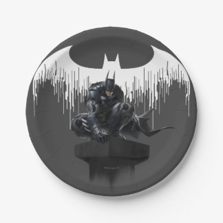 Batman Perched on a Pillar Paper Plate
