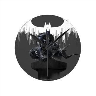 Batman Perched on a Pillar Round Clock