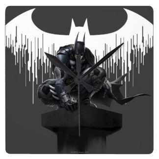 Batman Perched on a Pillar Square Wall Clock