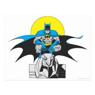 Batman Perches On Stone Lion Postcard
