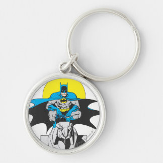 Batman Perches On Stone Lion Silver-Colored Round Key Ring