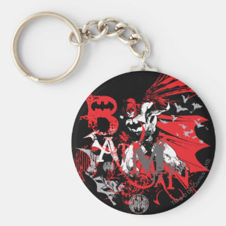 Batman Red and Black Collage Key Ring