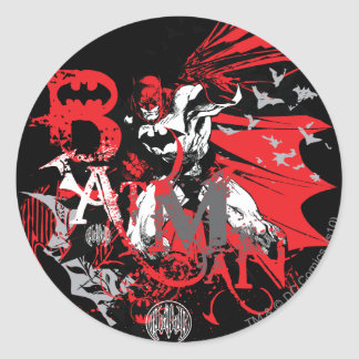 Batman Red and Black Collage Round Stickers