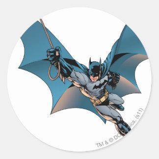 Batman swing  into action round sticker
