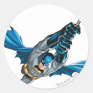 Batman Swings from Rope Round Sticker