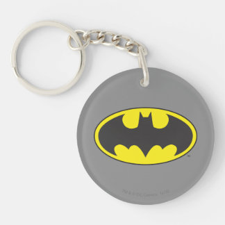 Batman Symbol | Bat Oval Logo Double-Sided Round Acrylic Key Ring