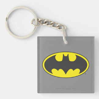 Batman Symbol | Bat Oval Logo Double-Sided Square Acrylic Key Ring