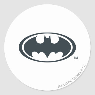 Batman Symbol | Black and White Logo Classic Round Sticker