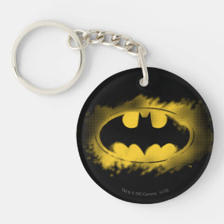 Batman Symbol | Black and Yellow Logo Double-Sided Round Acrylic Key Ring