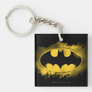 Batman Symbol | Black and Yellow Logo Double-Sided Square Acrylic Key Ring