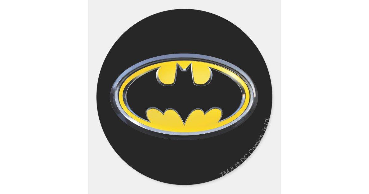 Batman symbol classic logo classic round sticker zazzle co uk