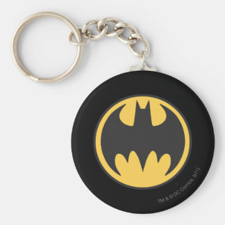 Batman Symbol | Dark Yellow Circle Logo Basic Round Button Key Ring