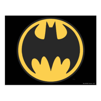 Batman Symbol | Dark Yellow Circle Logo Postcard