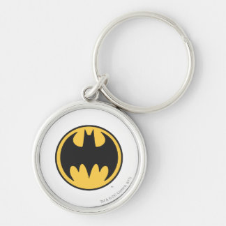 Batman Symbol | Dark Yellow Circle Logo Silver-Colored Round Key Ring