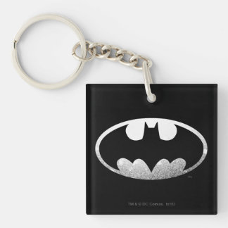 Batman Symbol   Grainy Logo Double-Sided Square Acrylic Key Ring