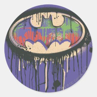 Batman Symbol | Green Purple Red Logo Round Sticker