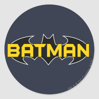 Batman Symbol | Name Yellow & Black Logo Classic Round Sticker
