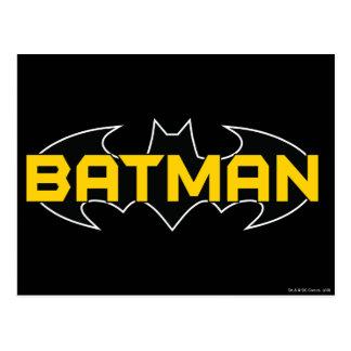 Batman Symbol   Name Yellow & Black Logo Postcard