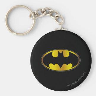 Batman Symbol | Oval Gradient Logo Basic Round Button Key Ring