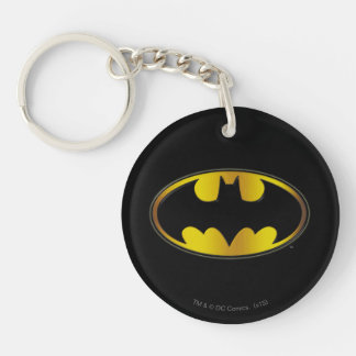 Batman Symbol | Oval Gradient Logo Double-Sided Round Acrylic Key Ring