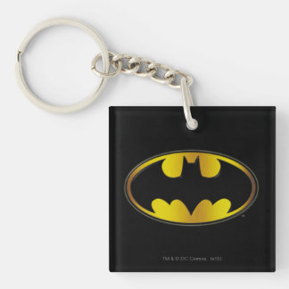 Batman Symbol | Oval Gradient Logo Double-Sided Square Acrylic Key Ring