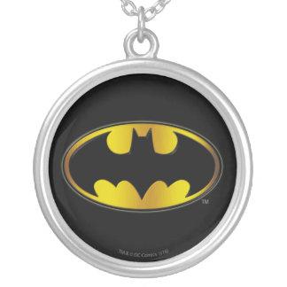 Batman Symbol | Oval Gradient Logo Silver Plated Necklace