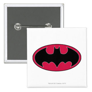 Batman Symbol | Red Black Logo 15 Cm Square Badge