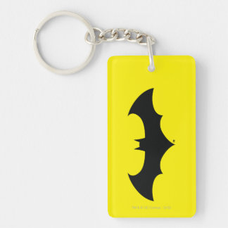 Batman Symbol | Simple Bat Silhouette Logo Double-Sided Rectangular Acrylic Key Ring