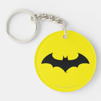 Batman Symbol | Simple Bat Silhouette Logo Double-Sided Round Acrylic Key Ring