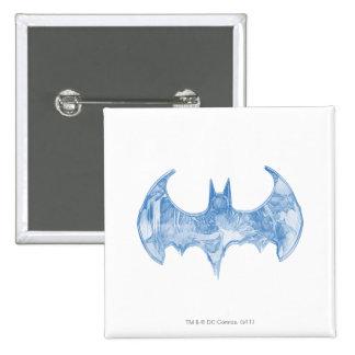Batman Symbol | Sketchbook Light Blue Logo 15 Cm Square Badge