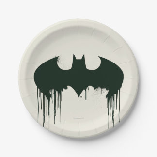 Batman Symbol   Spraypaint Logo 7 Inch Paper Plate