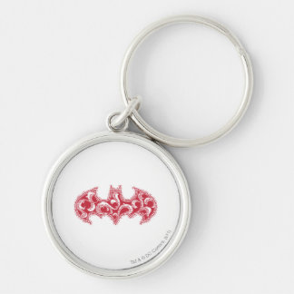 Batman Symbol | Urban Legends Red Waves Logo Silver-Colored Round Key Ring