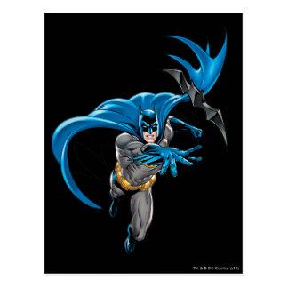 Batman throws batarang postcard