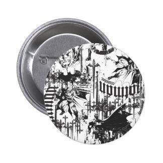 Batman Urban Legends - Caped Crusader Pattern BW 6 Cm Round Badge