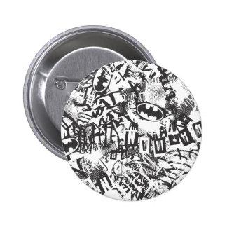 Batman Urban Legends - Grunge Logo Pattern 2 BW 6 Cm Round Badge