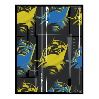 Batman Urban Legends - Mask Grid Pattern Blue/Yell Postcard