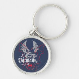 Batman Urban Legends - Wings Red on Blue Silver-Colored Round Key Ring