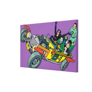 Batman Villains In Jokermobile Canvas Print