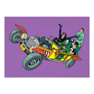 Batman Villains In Jokermobile Custom Invitations