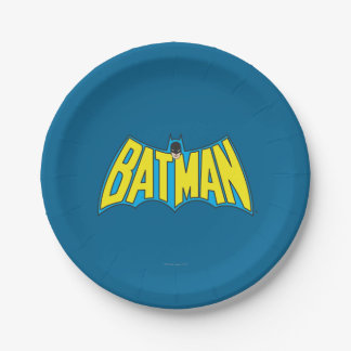 Batman | Vintage Yellow Blue Logo 7 Inch Paper Plate
