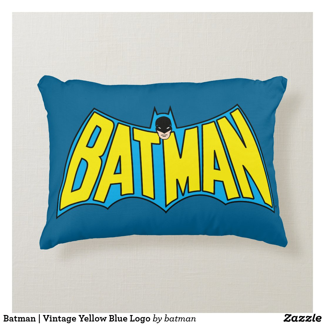 Batman | Vintage Yellow Blue Logo Decorative Cushion